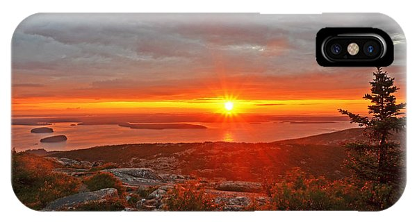 The Sunrise From Cadillac Mountain In Acadia National Park IPhone Case