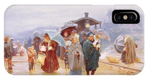Passenger Train iPhone Case - The Train Has Arrived, 1894 by Nikolaj Alekseevich Kasatkin