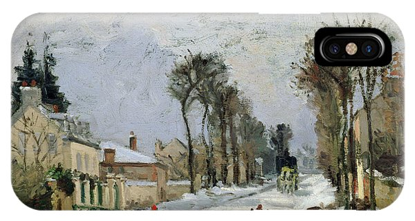 Snowy Road iPhone Case - The Versailles Road At Louveciennes by Camille Pissarro