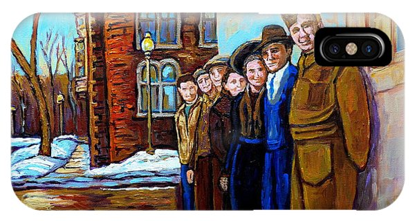 The War Years 1942 Montreal St Mathieu And De Maisonneuve Street Scene Canadian Art Carole Spandau IPhone Case