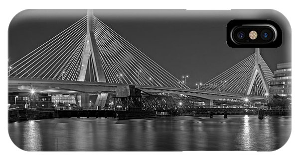 Bean Town iPhone Case - The Zakim Bridge Bw by Susan Candelario