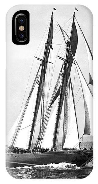 Regatta iPhone Case - Thebaud Under Full Sail by Underwood Archives