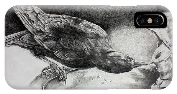 Raven iPhone Case - Thirsty Crow by Derrick Higgins