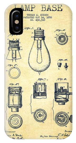 Light iPhone Case - Thomas Edison Lamp Base Patent From 1890 - Vintage by Aged Pixel