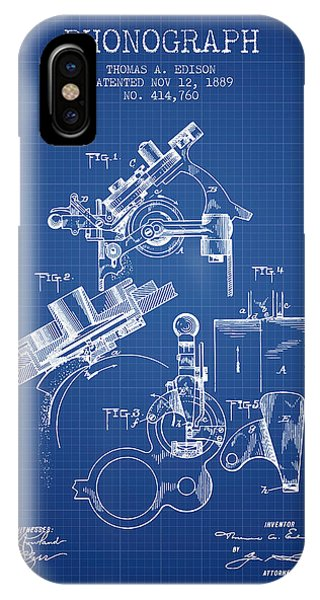 Thomas Edison Phonograph Patent From 1889 - Blueprint IPhone Case