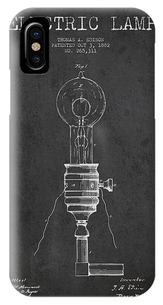 Light iPhone Case - Thomas Edison Vintage Electric Lamp Patent From 1882 - Dark by Aged Pixel