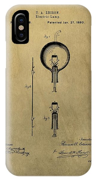 Thomas Edison's Electric Lamp Patent Illustration IPhone Case