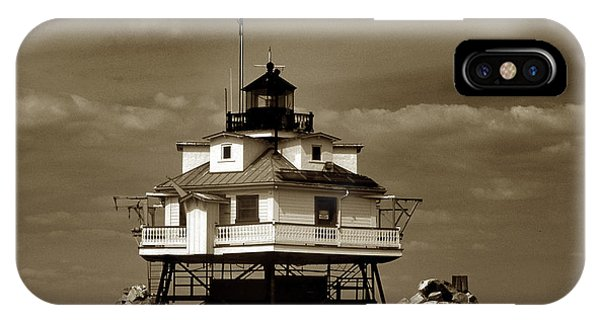 Thomas Point Shoal Lighthouse Sepia IPhone Case