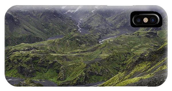 Thorsmork Toward Myrdalsjokull IPhone Case