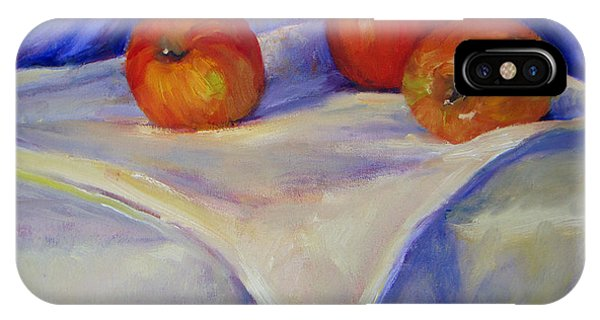 Three Apples With Blue And White IPhone Case