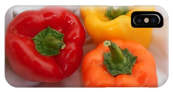 Analogous Color iPhone Case - Three Bell Peppers Red Orange And Yellow Food Fine Art by Patricia E Sundik