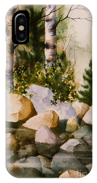 Three Birch By Rocky Stream IPhone Case