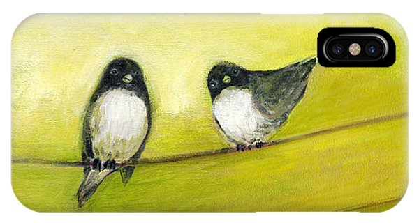 Trio iPhone Case - Three Birds On A Wire No 2 by Jennifer Lommers