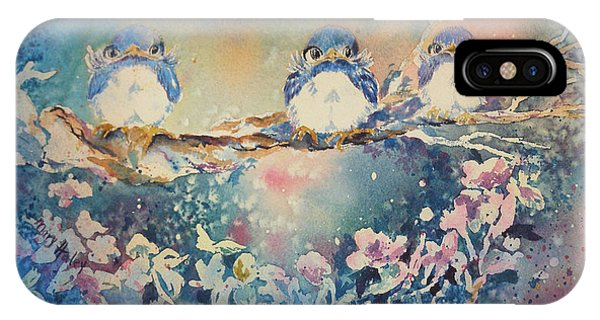 Three Blue Birds IPhone Case