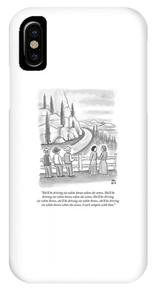 Three Frontiersmen And Two Women Watch A Mountain IPhone Case