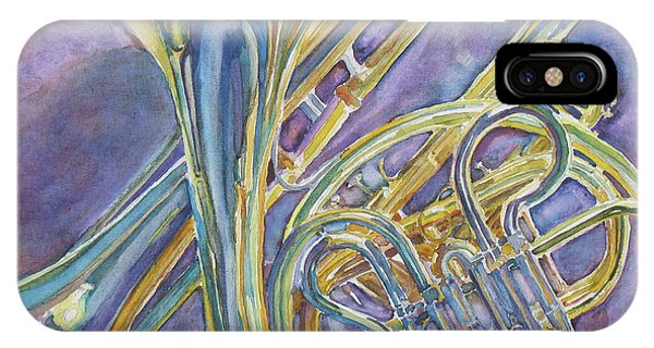 Yellow Trumpet iPhone Case - Three Horns by Jenny Armitage