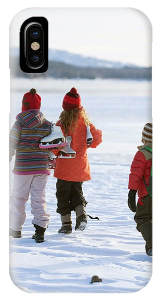 Knit Hat iPhone Case - Three Kids Heading Out To Ice Skate by Woods Wheatcroft