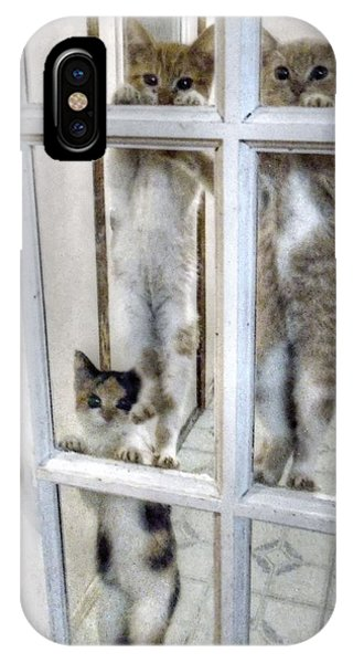 Three Kitten Door Deco IPhone Case