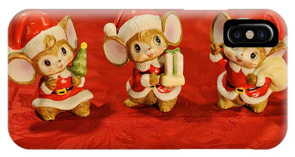 Three Little Christmas Mice IPhone Case