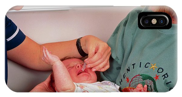 Three-month-old Boy Receiving Polio Vaccination Phone Case by Simon Fraser/science Photo Library