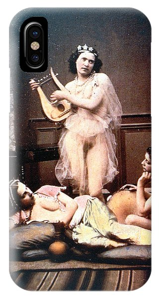 Harp iPhone Case - Three Nudes And A Harp by Unknown