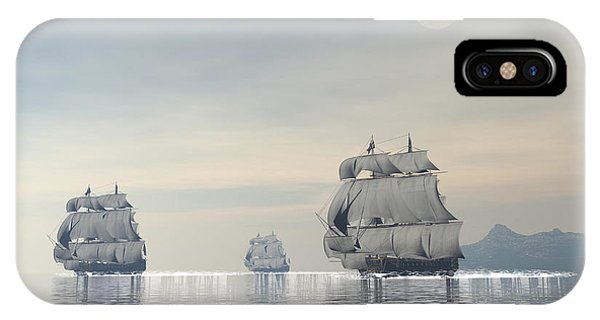 Schooner iPhone Case - Three Old Ships Sailing In The Ocean by Elena Duvernay