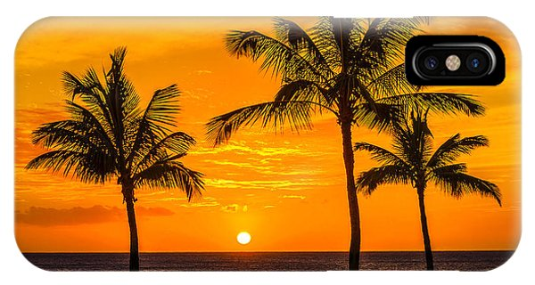 Oahu iPhone Case - Three Palms Golden Sunset In Hawaii by Aloha Art