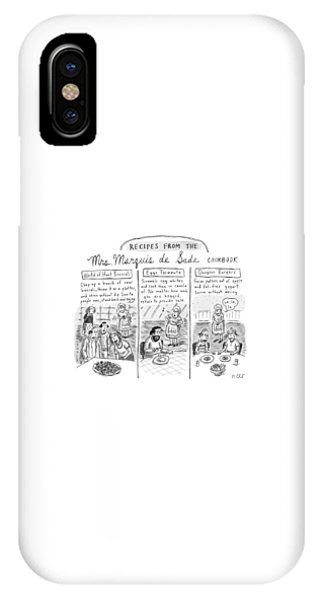 Three Panels Depict Recipes From Mrs. Marquis De IPhone Case