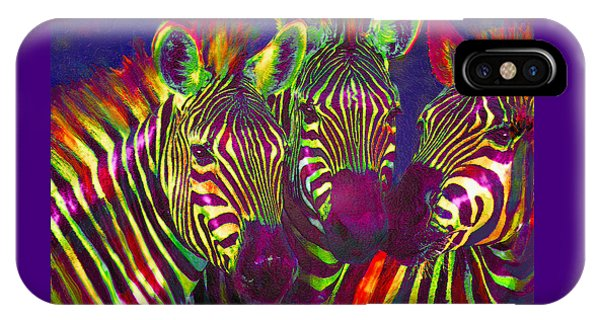 Three Rainbow Zebras IPhone Case
