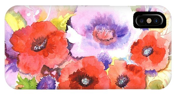 Violet iPhone Case - Three Red Poppies by Neela Pushparaj