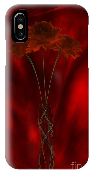 Three Red Roses In The Red Room IPhone Case