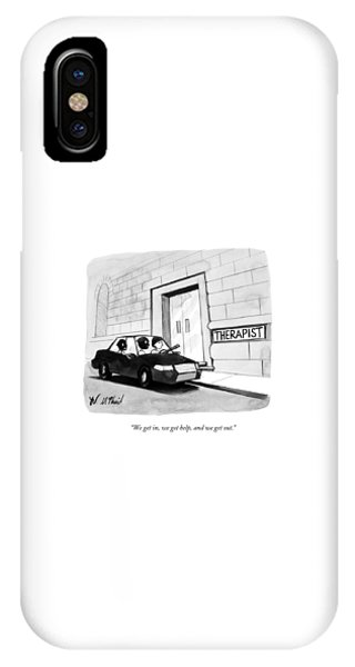 Three Robbers Sit In A Car Outside A Building IPhone Case