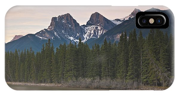 Three Sisters And Bow River Canmore Phone Case by Richard Berry