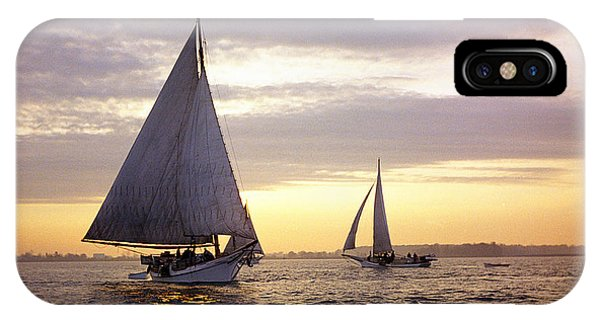 Skipjack iPhone Case - Three Skipjacks Dredging Oysters At Dawn by James L. Amos