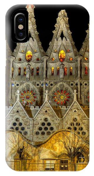 Three Tiers - Sagrada Familia At Night - Gaudi IPhone Case