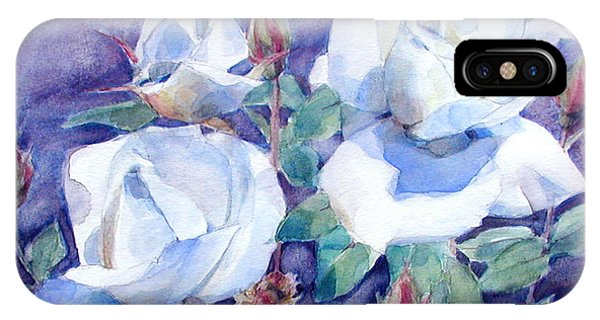 White Roses With Red Buds On Blue Field IPhone Case