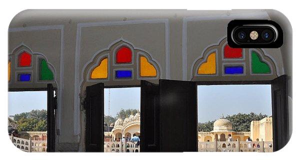 Three Windows At The Hawa Mahal Jaipur Rajashan India IPhone Case