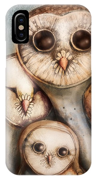 Cute Bird iPhone Case - Three Wise Owls by Karin Taylor