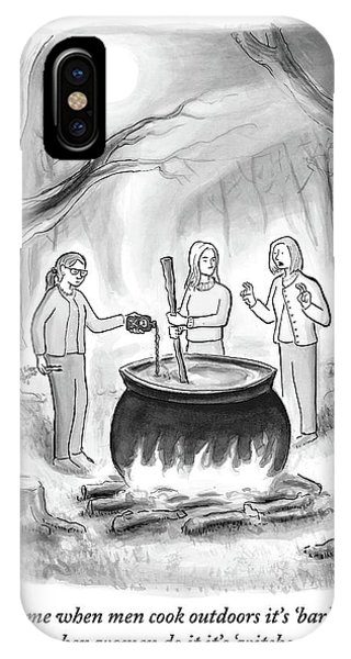 Cauldron iPhone Case - Three Women Stand Around A Large Cauldron by Paul Noth