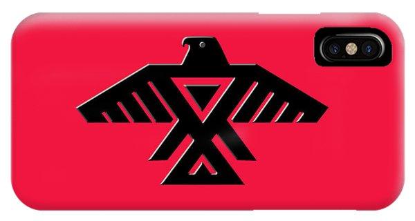 Thunderbird Emblem Of The Anishinaabe People Black On Red Version IPhone Case
