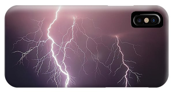 Night iPhone Case - Thunderbolt Over The Sea by Nini_filippini