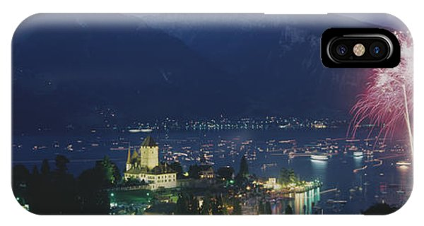 Fireworks iPhone Case - Thuner See, Spiez, Switzerland by Panoramic Images
