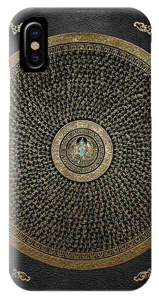 Tibetan Thangka - Green Tara Goddess Mandala With Mantra In Gold On Black IPhone Case