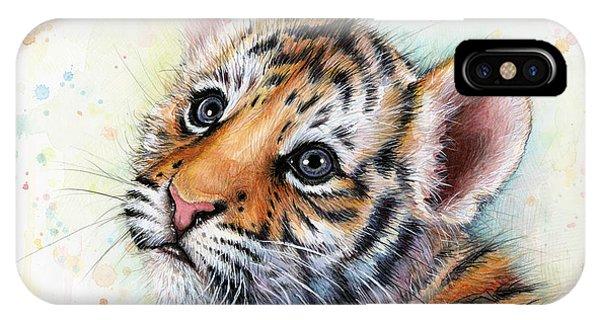 Jungle iPhone Case - Tiger Cub Watercolor Art by Olga Shvartsur