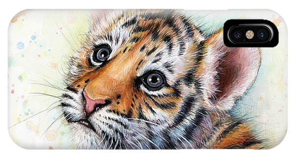 Tiger iPhone Case - Tiger Cub Watercolor Art by Olga Shvartsur