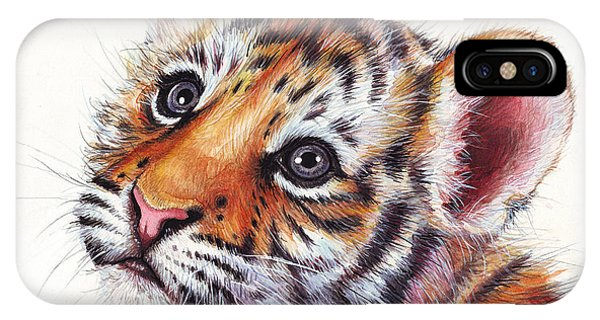 Tiger iPhone Case - Tiger Cub Watercolor Painting by Olga Shvartsur