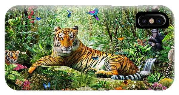 Bravery iPhone Case - Tiger In The Jungle by MGL Meiklejohn Graphics Licensing
