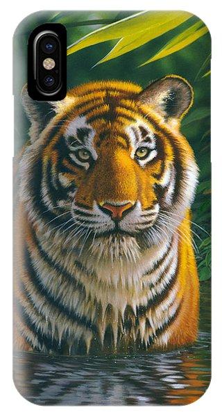Portraits iPhone Case - Tiger Pool by MGL Studio - Chris Hiett
