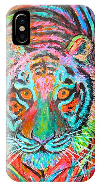 IPhone Case featuring the painting Tiger Stare by Kendall Kessler