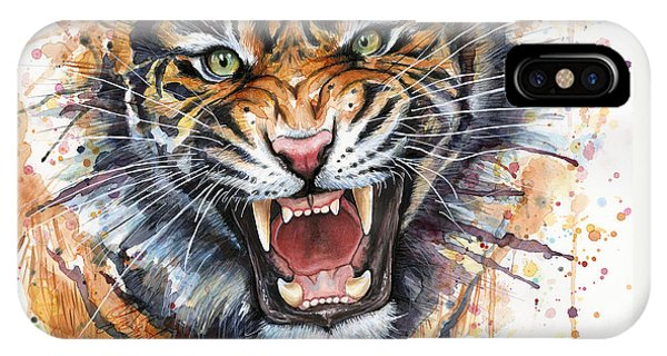 Tiger iPhone Case - Tiger Watercolor Portrait by Olga Shvartsur